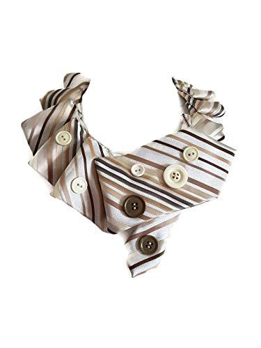 Frau Halskette Krawatte Kragen Kutte beige Streifen Tasten handgemachte häkeln Geschenk für sie
