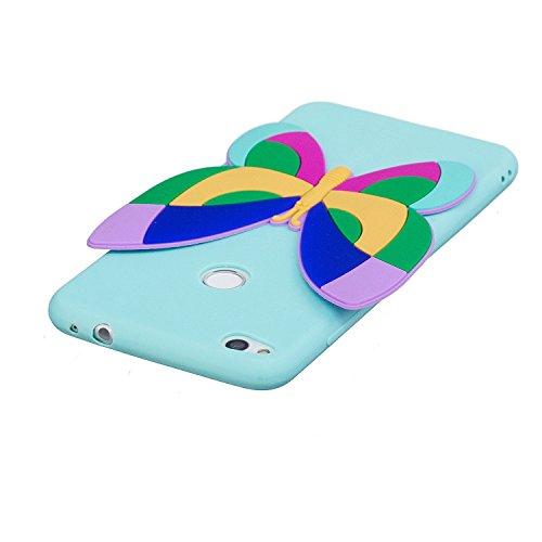 Huawei P8 Lite 2017 Custodia, Cover Huawei P8 Lite 2017, JAWSEU Huawei P8 Lite 2017 Protezione Disegno Creativo 3D Sollievo Cartone Animato Silicone Custodia Cover Case Caso TPU Morbida Flessibile Gom 3D Farfalla