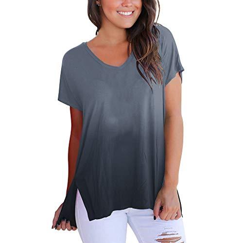 Camiseta de Manga Corta con Cuello en V y Degradado en Color para Mujer  Camiseta Suelta 514689b425d