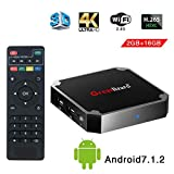 Greatlizard Android 7.1.2 X96 Mini TV Box Quad Core 2.4G Wifi 4K HD Supporto VP9 HEVC Decodifica(2GB Ddr3 + 16GB EMMC)