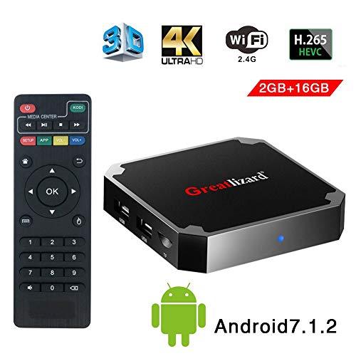 Greatlizard Android 7.1.2 X96 Mini TV Box Quad Core 2.4G Wifi 4K HD Supporto VP9 HEVC Decodifica(2GB Ddr3 + 16GB EMMC)