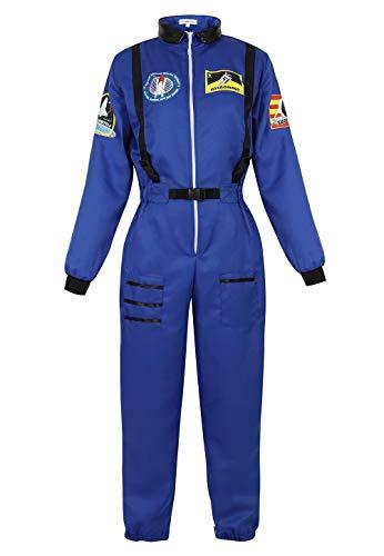 Erwachsene Raumfahrer Für Kostüm - aizen Astronauten Kostüm Erwachsene Damen Kostüm Astronaut Weltraum Raumfahrer Halloween Cosplay Blau XS