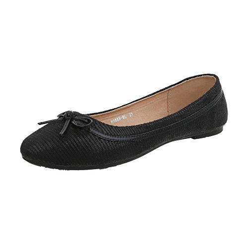 Ital-Design Klassische Ballerinas Damen-Schuhe Moderne Schwarz, Gr 39, B988H-Bl- (Schuhe Ballerinas Schwarze)