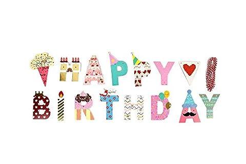 2 Meter Happy Birthday Girlande - Kinder Geburtstag Dekoration Geburtstagsparty