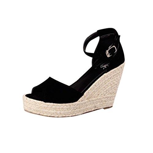 Lvguang Damen Wedges Schuhe Mode Sandalen Plateau Toe High-Heels Sandalen Freizeitschuhe Abendschuhe Schuhe Schwarz Asia 34(22cm) -