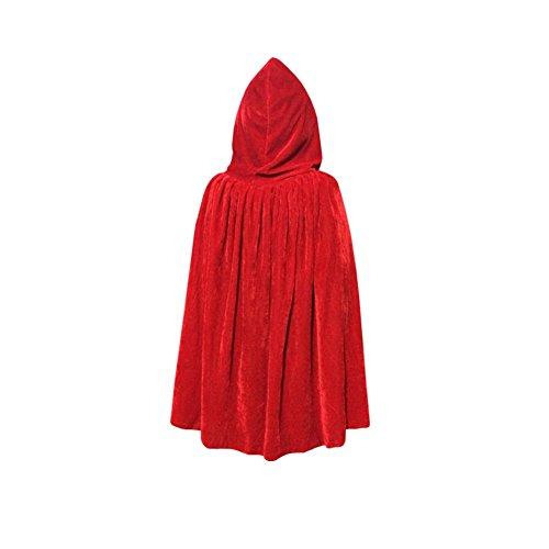 zen-Samt Umhang Robe Cape Halloween Ostern Kostüme (Rot Und Schwarz Kapuze Mädchen Kostüme Robe)