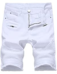 142b1923ed51c YoungSoul Short Homme - Short jeans slim style biker à déchirures - Pantacourt  bermuda jean ete