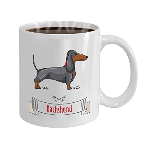 36e1920d5 Personalized Gift Birthday, Anniversary, Customized Celebrating Gift White  Tee Cup 11oz Dachshund Hunting Cute Dog Cartoon illustrartion