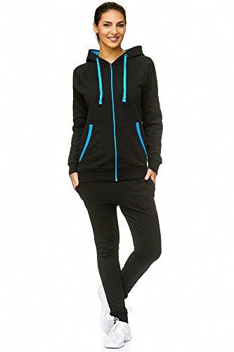 Damen Jogging-Anzug | Uni 704 (S-fällt groß aus, Schwarz-Blau)
