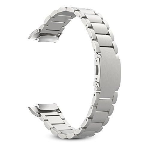 MoKo Gear Fit2 Watch Cinturino, Braccialetto di Acciaio Inossidabile + Connettore per Samsung Galaxy Gear Fit 2 SM-R360 SmartWatch (NON per Gear S2 & S2 Classic), Argento