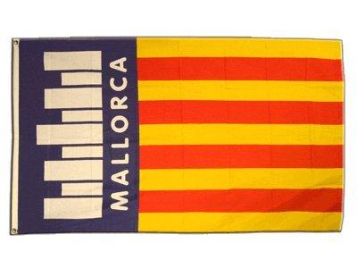 Fahne / Flagge Spanien Mallorca mit Schrift + gratis Sticker, Flaggenfritze®