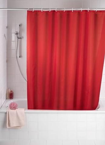 WENKO 20037100 Anti-Schimmel Duschvorhang Uni Red - Anti-Bakteriell, waschbar, mit 12 Duschvorhangringen, 100 % Polyester,