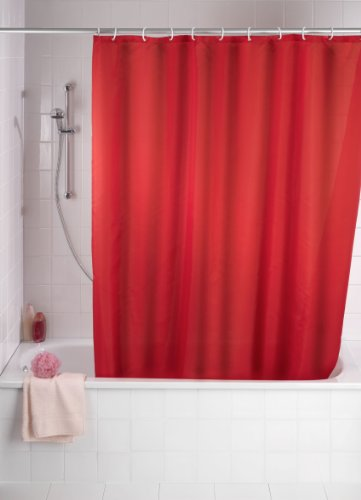 Wenko 20037100 Anti-Schimmel Duschvorhang Uni Red - Anti-Bakteriell, waschbar, mit 12 Duschvorhangringen, 100% Polyester, Rot