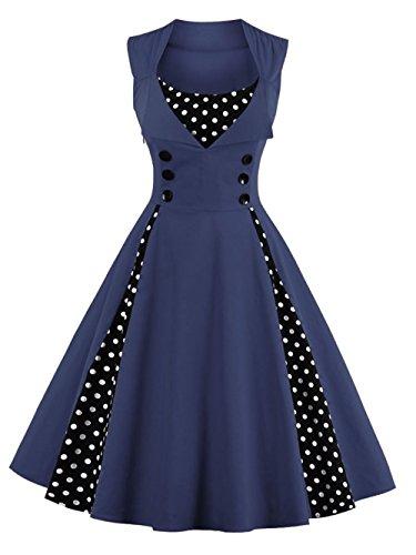VKStar Vintage 50er Jahre Rockabilly Kleid Ärmellos Polka Dots Kleid Retro Swing Elegantes...
