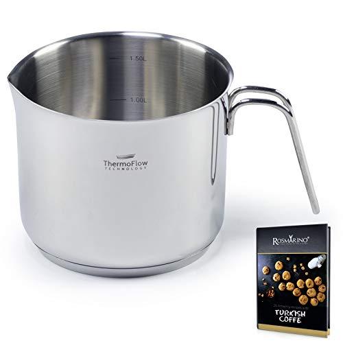 ROSMARINO Milchtopf Induktion aus Edelstahl poliert 14 cm 1,5 l - Simmertopf mit Schüttrand induktionsgeeignet, spülmaschinengeeignet für alle Kochfelder