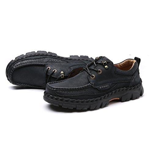 Printemps Derby en Cuir Souple Loisirs Respirent Semelle Antidérapant Courant Chaussures Homme Noir