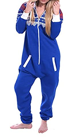 Juicy Trendz Dame Frauen Unisex One Zip Onesie Jumpsuit Playsuit Anzug AZ-BLU M
