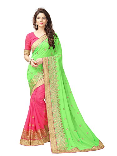 saree center Saree With Blouse Piece (saree center-parrot gold_Multi_Free Size)