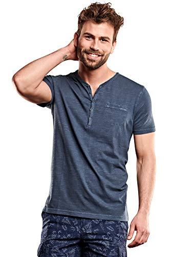 Henley-shirt (engbers Herren Henley T-Shirt, 27740, Blau in Größe M)