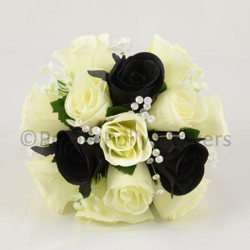 Fiori matrimoniali ukgd mano-realizzato da petali polly, damigelle posy, panna/avorio/nero