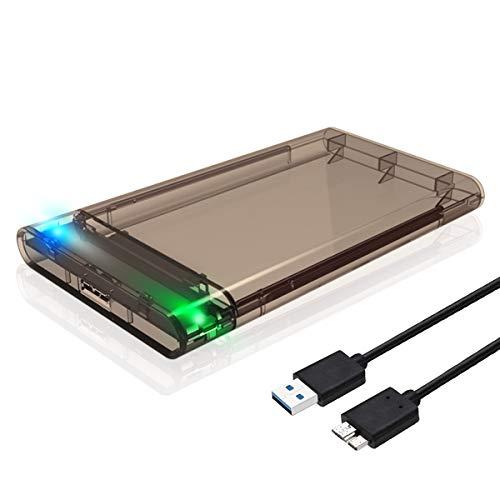 "Urbetter 2.5\"" Festplattengehäuse HDD/SSD Festplatte Gehäuse Externes 2.5 Zoll 7mm-9.5mm HDD/SSD Enclosure, SATA USB3.0 Hard Drive Festplattengehäuse mit USB 3.0 to SATA Kabel (Transparente-Grau)"