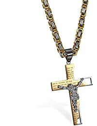 JewelryWe Jesus Bible Cross Crucifix Pendant for Men's Necklaces with 25.59 Inch Chain