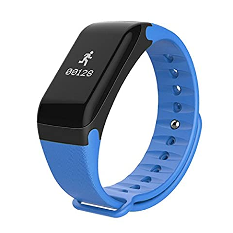 Smart Bracelet Blood Pressure Heart Rate Monitor Bluetooth Step Exercise Watch ANDROID IOS,Blue-50*24*11.6mm