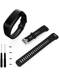 BZLine® Sportif Silicone Bracelet de Remplacement(2 Tournevis + 4 Vis Gratuits)avec Fermeture de Boucle Aiguille pour Garmin Vivosmart HR, Noir