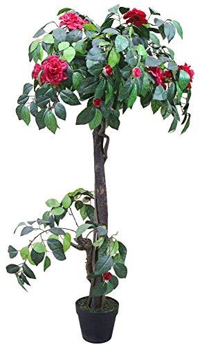 Decovego Kamelie Künstliche Pflanze Kunstpflanze mit Blüten Echtholz Rot 120cm