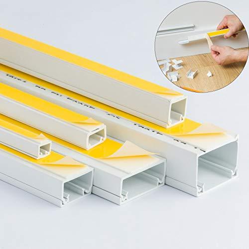 Bianco autoadesivo in PVC di canalina per cavi Tidy plastica isolanti mini tronco–2x 1m di lunghezza–WIRE4U–Dimensioni varie: incluso 10x 8, 16x 10, 16x 16, 25x 16, 38x 16e 38x 25mm