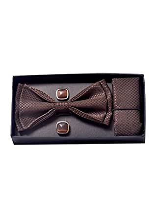 Elite Micro Fiber Men's Solid Formal Tuxedo Bow Tie, Hanky & Cufflinks Set with Elegant Pattern Size - (LxW - 4.5 x 2.5) Inches/Perfect Gift Option for Husband, Father, Friend & Loved One(BROWN)