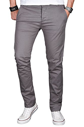A. Salvarini Herren Designer Chino Stretch Stoff Hose Chinohose Regular Slim mit Elasthananteil AS024 [AS024 - Grau - W38 L32]
