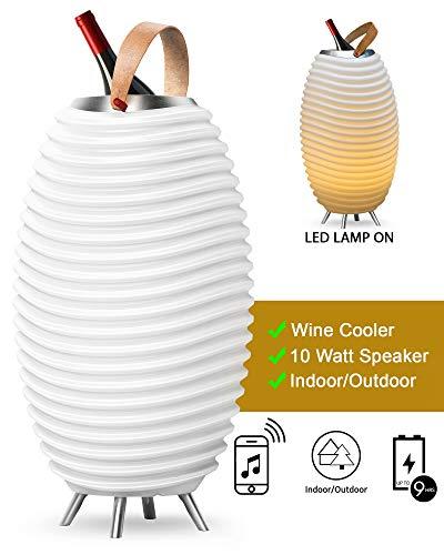 Synergy 50 Pro - 3-in1 LED-Lampe Bluetooth-Lautsprecher & Weinkühler - LED-Licht, Musik-Streaming und Wein-, Champagner oder Bier kühlen - 2600 mAH-Akku für bis zu 11 Stunden Laufzeit