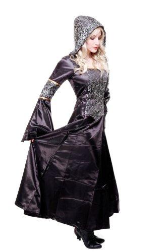 Kostüm Damen Damenkostüm aufwändiges Kleid mit Haube Mittelalter Romantik Elfe Gotik Gothic Burgfräulein L068 Gr. 46 / L - 3