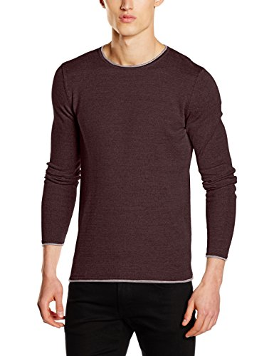 SELECTED HOMME Herren Pullover Shnklop Crew Neck Noos Braun (Fudge Detail:Ash Inside)