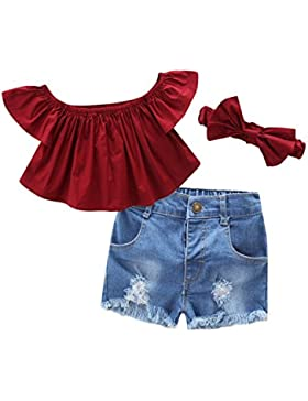 Wongfon Ragazze via Spalla Top manica corta T-shirt + jeans strappati Shorts + Fascia 3 pezzi Abbigliamento per...