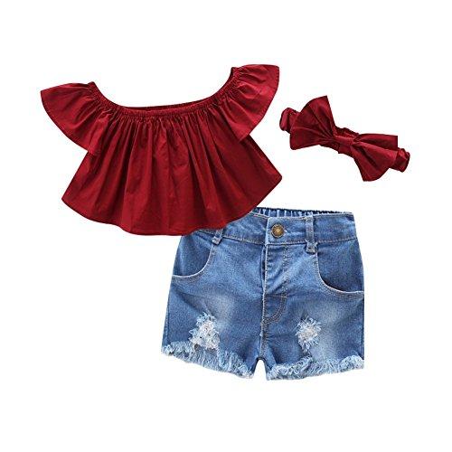Mädchen 7 Outfit (Wongfon Mädchen Schulterfrei Tops Kurzarm T-Shirt + Zerrissene Jeans Shorts + Stirnband 3 Stück Kleidung Outfit für 1-7 Jahre)