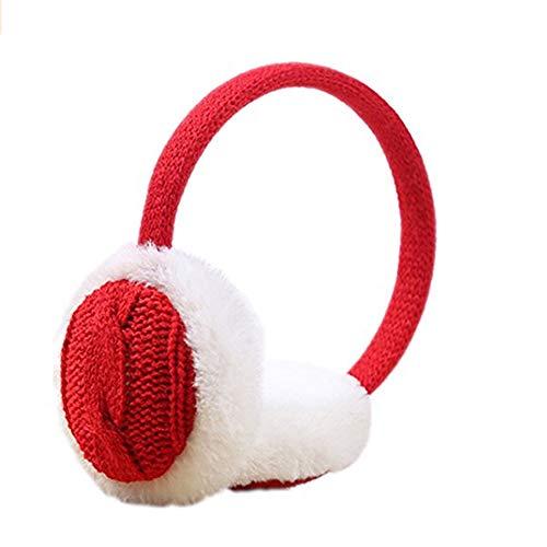 Da.Wa Ohrenwärmer 1 Stück Stricken Mädchen Winter Ohrenschützer Outdoor Kälteschutz Rot -