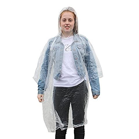 A Pack of 2 Adult Emergency Waterproof Rain Ponchos with Hoods - Festivals Theme Parks