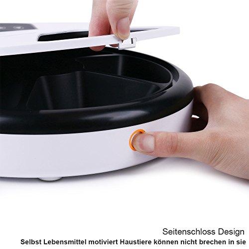 TD Design Automatisierte Futterspender für Hunde & Katzen | Trocken- und Nassfutter – 5 Mahlzeiten, 5 x 240ml - 5
