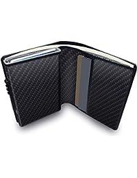 KOOGOO Cuero Tarjetero RFID Cartera Crédito,Slim y pequeña Portatarjetas extraíble para Identificación Tarjetas Crédito