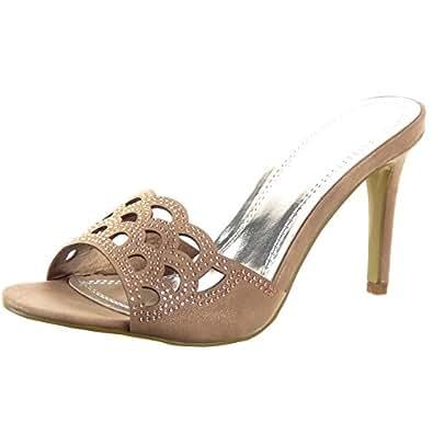 Sopily - Chaussure Mode Escarpin Sandale Stiletto Cheville femmes strass diamant Perforée Talon haut aiguille 8.5 CM - Champagne - WL-JM-16 T 41
