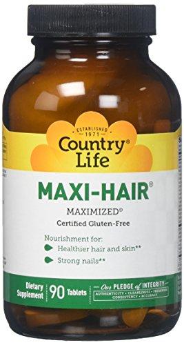 Haar-maxi (Country Life, Maxi-Hair (Maxi-Haar), 90 Vegane Tabletten)