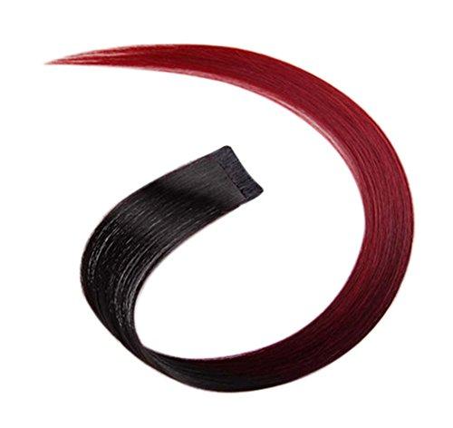 2 morceaux de Mode cheveux invisibles pièce extension perruque, vin rouge