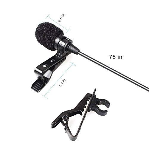 WJDASM Mikrofon NEUESTE tragbare Krawatte Lavalier Mikrofon Mic Clip-on Kragen für iOS Android Handy Laptop Tablet, schwarz
