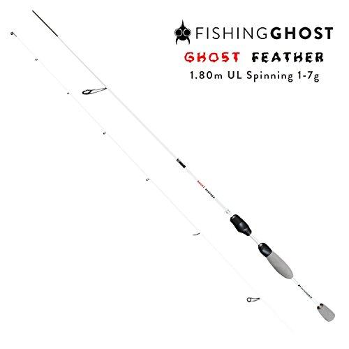 FISHINGGHOST® Ultraleicht Spinnrute Feather 1,80m Wurfgewicht: 1-7g Angelrute - Spinnrute - Steckrute - direkte Kraftübertragung beim Fischen auf Forelle, Saibling, Barsch
