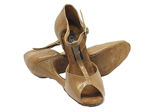 Vitiello Dance Shoes  385 satinato cuoio forma Sandal/90, Chaussons de danse pour femme Marron Marrone Marron - Satinato Cuoio