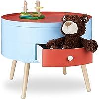 Preisvergleich für Relaxdays Beistelltisch mit Schublade, bunter Konsolentisch, für Kinderzimmer, rund, Nachttisch HxD 45x60 cm, rot-blau
