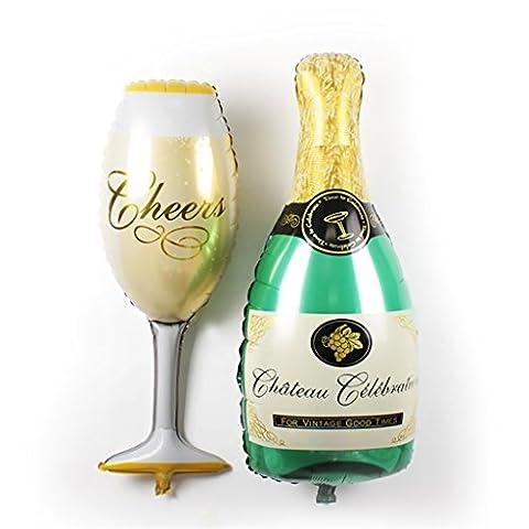 Nibesser Lot Ballon de Bouteille de Champagne + Ballon de Tasse Champagne Ballon Aluminium Jouet Enfant Accessoire pour Décor Anniversaire Mariage (2 sets)