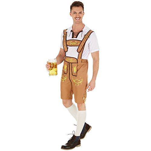 Herrenkostüm Trachten Set Bavaria | Fesche Trachtenhose | Traditionelle Stickereien | Shirt hat am Ausschnitt eine tolle Schnürung (S | Nr. 301085)